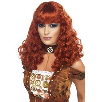 Auburn Curly Steampunk Wig Auburn