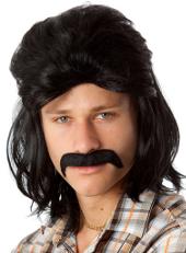 Black Mullet Wig and Moustache set