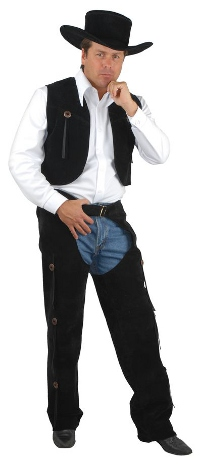 Black Suede Chaps and Vest Cowboy Costume