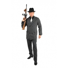 Black and White 6 Button Gangster Suit Costume