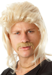 Blonde Mullet Wig and Moustache set