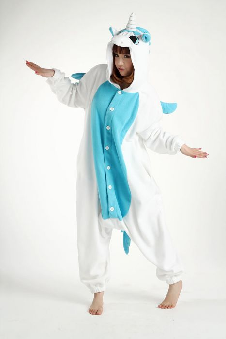 Blue Unicorn Onesie Adult Costume