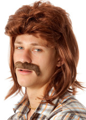 Brown Mullet Wig and Moustache set