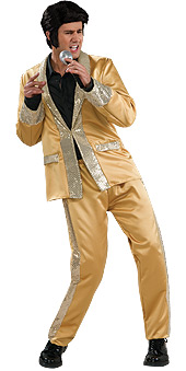 Elvis Deluxe Satin Gold Suit Costume
