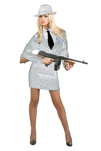 Gangster Moll White with Pinstripe Costume