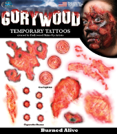 Gorywood Temporary Tattoos Burned Alive FX set
