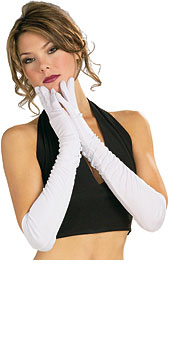 Long White Polyester Gloves