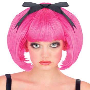 Pink Bob wig with bow