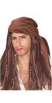 Pirate wig with suede scarf