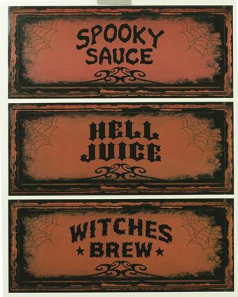 Spooky Bottle Name Labels large