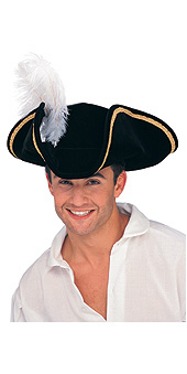 Tricorn Feathered Buccaneer Hat