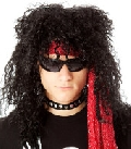 80s Black Heavy Metal Rocker Wig