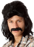 Black Mullet Wig and Moustache set