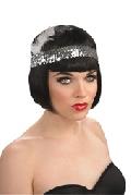 Black Sequin Flapper Headpiece
