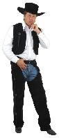 Black Suede Chaps and Vest Cowboy Costume