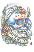 Day of The Dead La Rosa Skull Temporary Tattoo