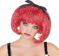 Red Bob wig with bow